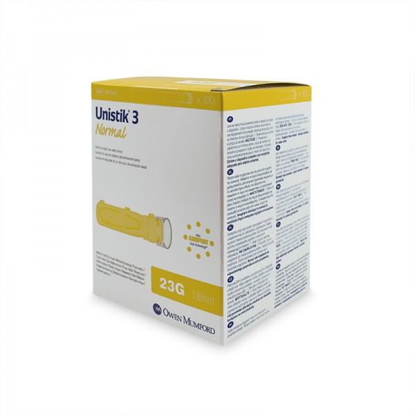 Unistik 3 Sicherheitslanzetten 23G 1,8 mm gelb